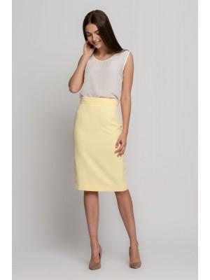 юбка классическая светло-желтая