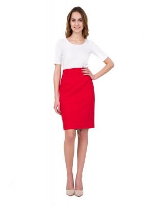 юбка классическая красная