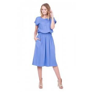 Платье Bialcon однотонное голубое на резинке